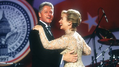 PHOTO: President Bill Clinton and his wife Hillary dance at an inaugural ball Jan. 20, 1997 in Washington, DC.