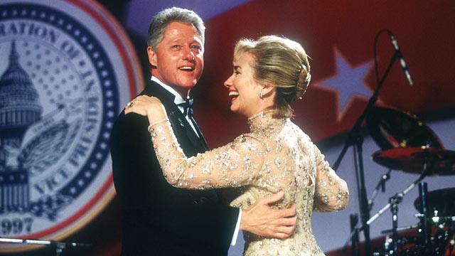 PHOTO: President Bill Clinton and his wife Hillary dance at an inaugural ball Jan. 20, 1997 in Washington, DC.