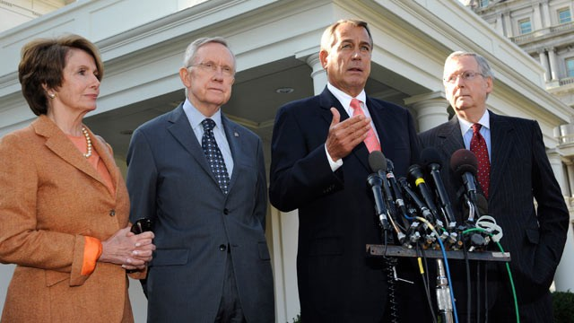 PHOTO: House Minority Leader Nancy Pelosi (D-CA), Senate Majority Leader Harry Reid (D-NV), Speaker of the House John Boehner (R-OH), and Senate Minority Leader Mitch McConnell (R-KY) speak to the media at the White House on November 16, 2012 in Washingto