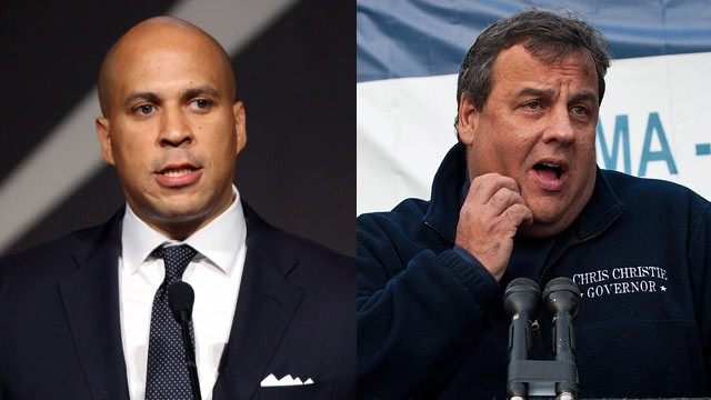 PHOTO: Cory Booker, Mayor of Newark attends the 2011 Emery Awards at Cipriani, left, and New Jersey Governor Chris Christie of Hoboken during press conference.