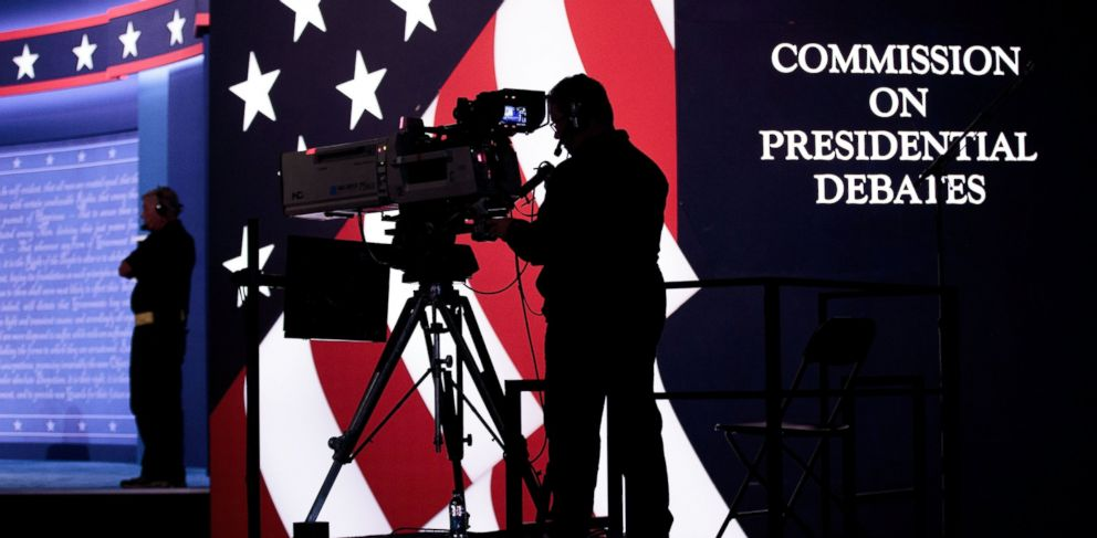 PHOTO: Television news crews prepare for the first presidential debate featuring Democratic presidential candidate Hillary Clinton and Republican presidential candidate Donald Trump at Hofstra University, Sept. 25, 2016, in Hempstead, New York.