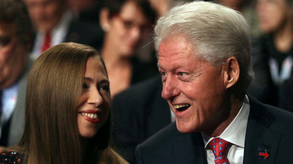 PHOTO: Former president Bill Clinton and his daughter Chelsea Clinton talk before the third U.S. presidential debate between Donald Trump and Hillary Clinton at the Thomas & Mack Center on Oct. 19, 2016 in Las Vegas.