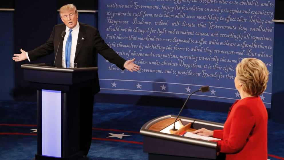 PHOTO: Republican nominee Donald Trump and Democratic nominee Hillary Clinton debate at Hofstra University in Hempstead, New York on Sept. 26, 2016.