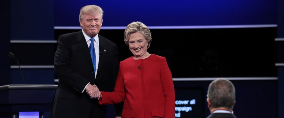 PHOTO: Republican presidential nominee Donald Trump and Democratic presidential nominee Hillary Clinton shake hands prior to the start of the Presidential Debate at Hofstra University on Sept. 26, 2016 in Hempstead, New York.