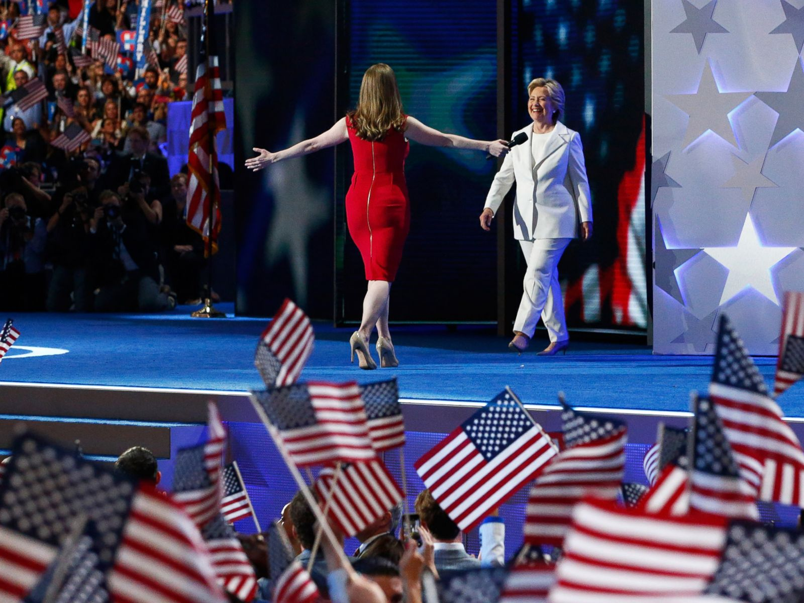 PHOTO: Democratic presidential nominee Hillary Clinton arrives on stage after her daughter Chelsea Clinton introduced her on the fourth day of the Democratic National Convention, July 28, 2016 in Philadelphia.