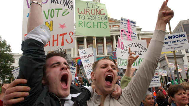 PHOTO: In this file photo, Greg Kimball and Brian OConnor shout outside the State House June 14, 2007 in Boston, MA when a special convening of the state congress voted to kill a referendum that would have placed the Gay Marriage issue on the ballot in 2