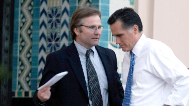 PHOTO: Mitt Romney speaks with his traveling press secretary Eric Fehrnstrom in this Jan. 31, 2008 file photo in San Diego, California.