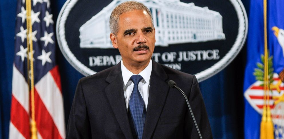 PHOTO: Attorney General Eric Holder speaks during a press conference announcing Department of Justice plans to sue North Carolina over Voter ID regulations at the Department of Justice on Sept. 30, 2013 in Washington.
