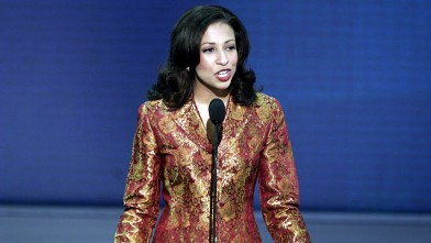 PHOTO: Former Miss America Erika Harold speaks at Madison Square Garden, the site of the Republican National Convention, August 2004, in New York City.