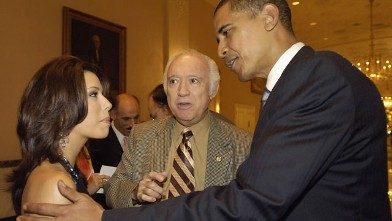 PHOTO: President Barack Obama speaks to actress Eva Longoria in this Sept. 13, 2005 file photo at the National Hispanic Foundation For The Arts Annual 'Noche de Gala' at the Mayflower Hotel, in Washington, DC.