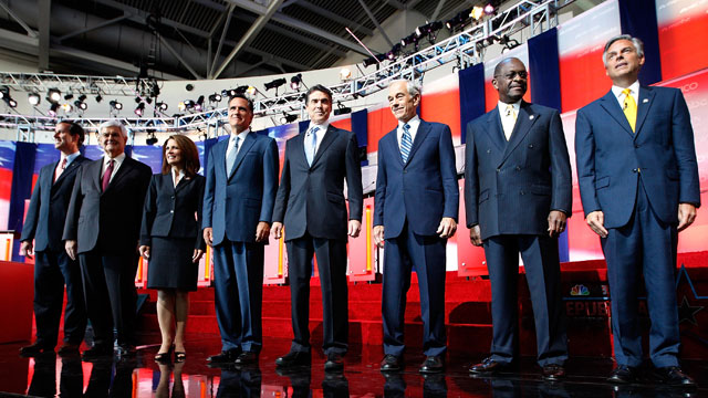 PHOTO: Candidates Rick Santorum, Newt Gingrich, U.S. Rep. Michele Bachmann (R-MN), Mitt Romney, Texas Gov. Rick Perry, U.S. Rep. Ron Paul (R-TX),