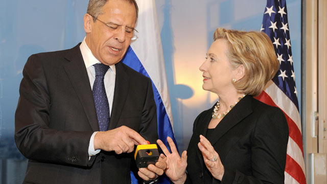 PHOTO: US Secretary of State Hillary Clinton (R) smiles with Russian Foreign Minister Sergei Lavrov after she gave him a device with red knob during a meeting on March 6, 2009 in Geneva.