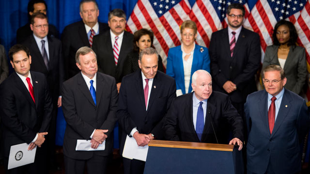 PHOTO: From left, Gang of 8 Senators Marco Rubio, R-Fla., Richard Durbin, D-Ill., Chuck Schumer, D-N.Y., John McCain, R-Ariz., Chuck Schumer, D-N.Y., and Bob Menendez, D-N.J.,  hold their news conference with advocates of immigration reform in the Dirksen