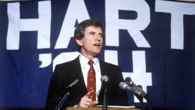 PHOTO: Politician Gary Hart speaks after he finding out he has won the primary in New Hampshire for the presidential election, Boston, Massachusetts, Feb. 28, 1984.