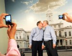 PHOTO: Ray Durand, left, and Dale Shields kiss while having their picture taken after their wedding ceremony at the Manhattan City Clerks office in New York, July 24, 2011.