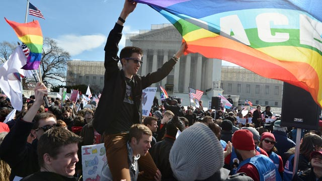 PHOTO: Same-sex marriage supporters demonstrate in front of the Supreme Court, March 27, 2013, in Washington.