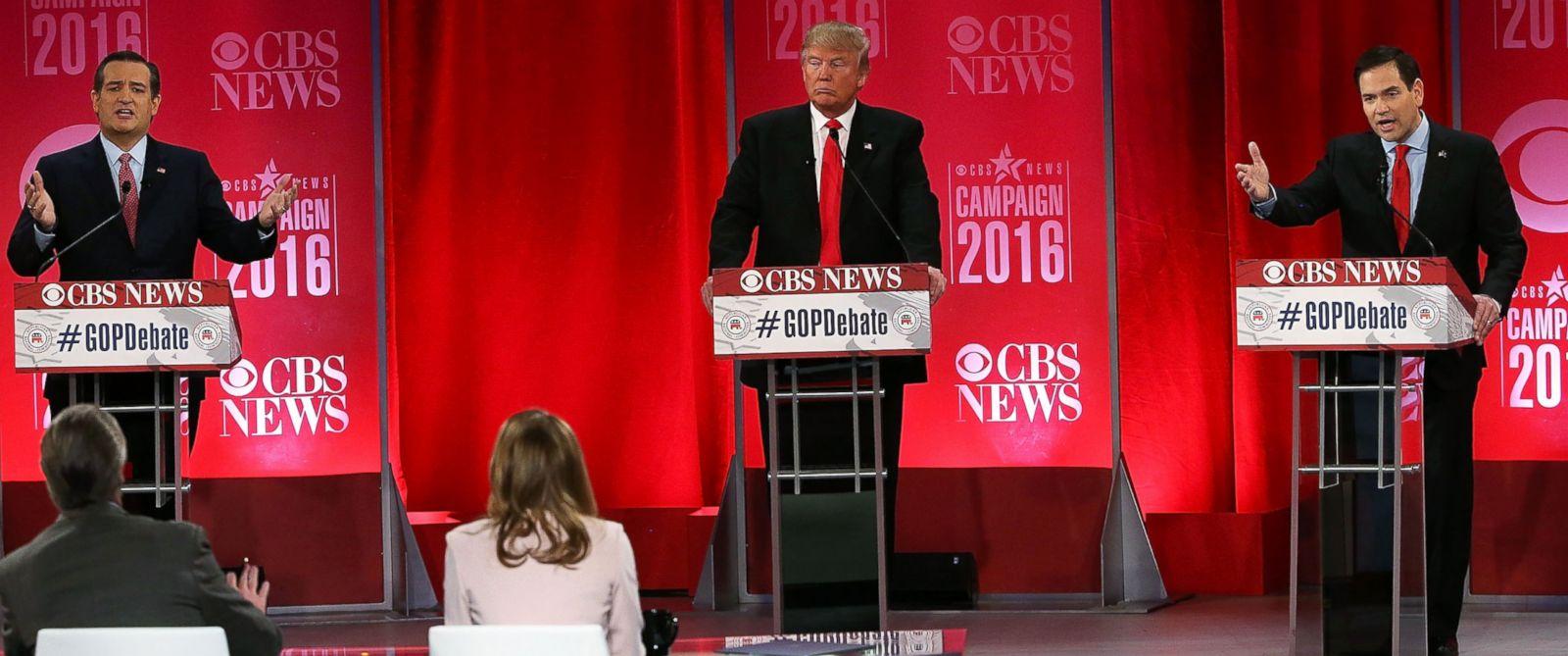 PHOTO: Republican presidential candidates Sen. Ted Cruz, Donald Trump and Sen. Marco Rubio participate in a CBS News GOP Debate on Feb. 13, 2016, at the Peace Center in Greenville, South Carolina.