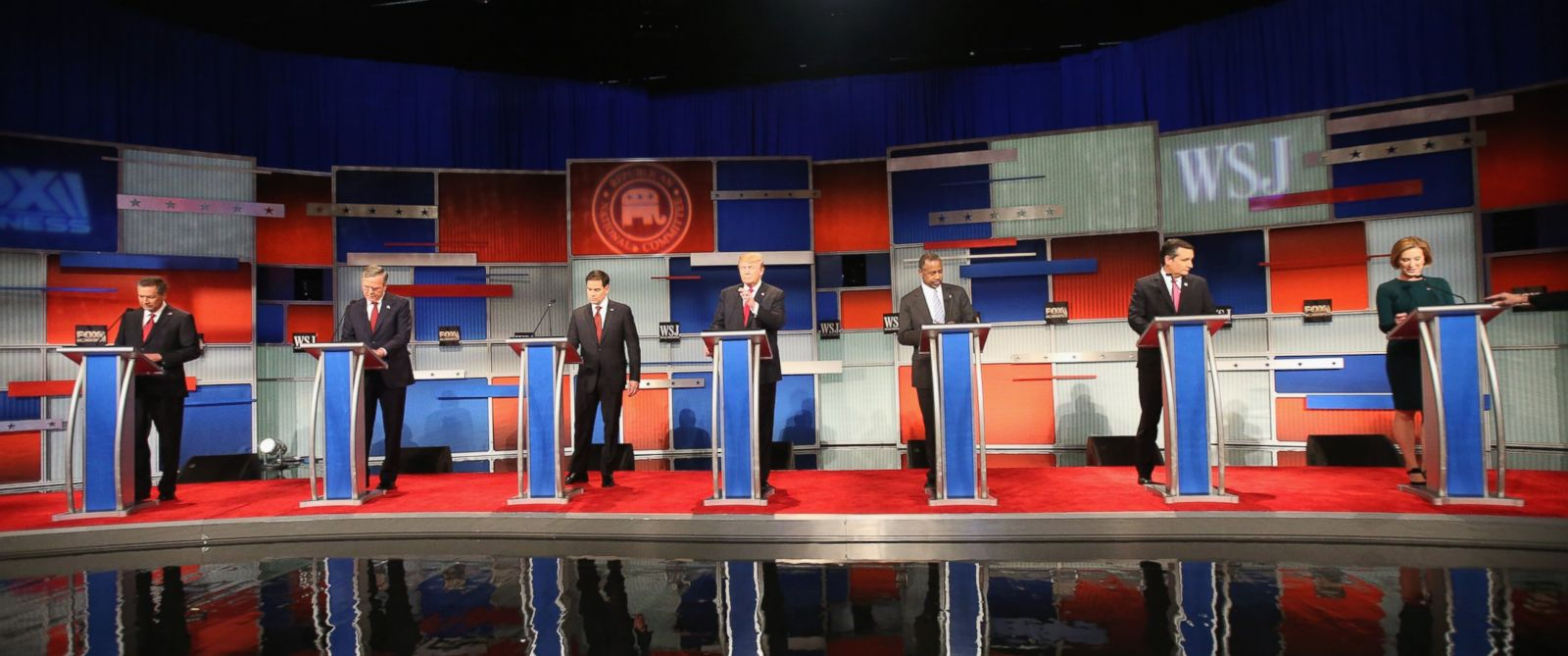 PHOTO: Presidential candidates Ohio Governor John Kasich , Jeb Bush, Sen. Marco Rubio , Donald Trump, Ben Carson, Ted Cruz , and Carly Fiorina take the stage in the Republican Presidential Debate, Nov. 10, 2015 in Milwaukee, Wisconsin.