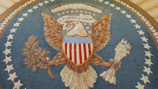 PHOTO: The Great Seal of the United States, inside the Oval Office of the White House February 29, 2008 in Washington, D.C.