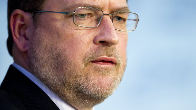 PHOTO: Founder of Americans for Tax Reform Grover Norquist participates in a debate at American Enterprise Institute in Washington, DC, November 29, 2011.