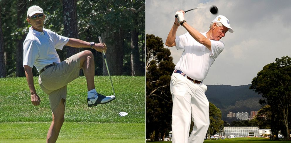 PHOTO: US President Barack Obama golfs on August 11, 2013 during the Obama family vacation to Marthas Vineyard while left, former U.S. President Bill Clinton plays on February 15, 2012 in Bogota, Colombia.