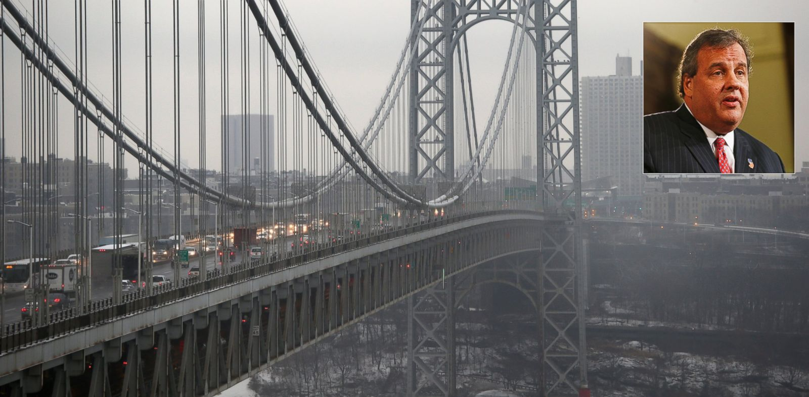 PHOTO: Traffic moves across the George Washington Bridge between New York City and New Jersey on Dec. 17, 2013. New Jerseys Governor Chris Christie, inset in a Jan. 9, 2014 file photo, has had to fend off allegations in a scandal involving the bridge.