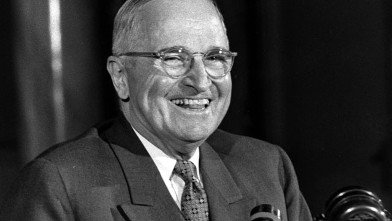 PHOTO: Former President of the United States Harry S Truman is seen at a press conference in the Savoy Hotel in London in this June 30, 1956 file photo.