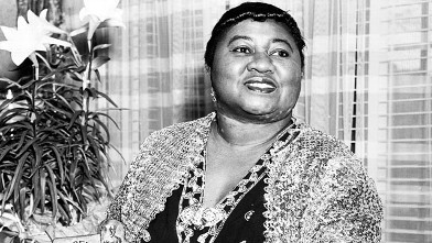 PHOTO: American actress Hattie McDaniel with her Academy Award of Merit for Outstanding Achievement, circa 1945.