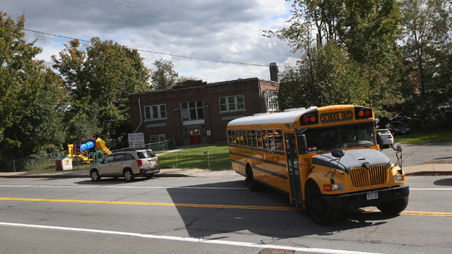 PHOTO: A school bus takes children home following class at the federally-funded Head Start school in this September 20, 2012 file photo in Woodbourne, New York.