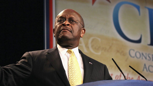 PHOTO: Former Republican Presidential Candidate Herman Cain speaks to guests at the Conservative Political Action Conference (CPAC) at the Donald E. Stephens Convention Center on June 8, 2012 in Rosemont, Illinois.