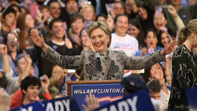 PHOTO: Democratic presidential hopeful and New York Senator Hillary Clinton celebrates her victory in the state primary, Manchester, New Hampshire, Jan. 8, 2008.