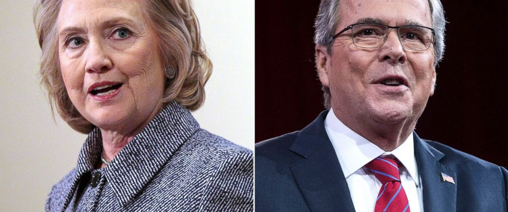 PHOTO: Hillary Clinton speaks in New York on March 10, 2015 and Jeb Bush speaks at National Harbor, Md. on Feb. 27, 2015.