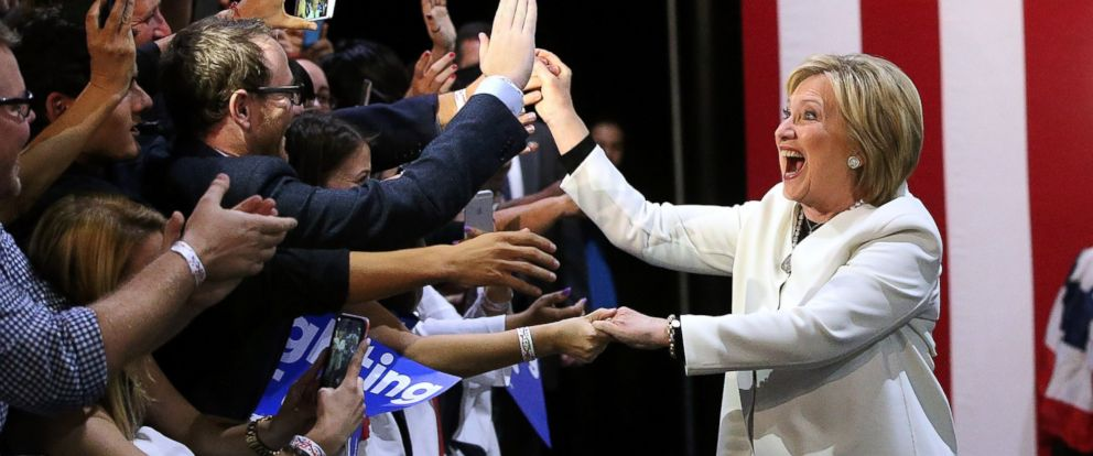 PHOTO: Democratic presidential candidate former Secretary of State Hillary Clinton greets supporters during her Super Tuesday evening gathering Stage One Ice Studios on March 1, 2016 in Miami, Fla.