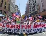 PHOTO: Demonstrators seeking change in immigration policy march on May Day in Los Angeles, May 01, 2013.
