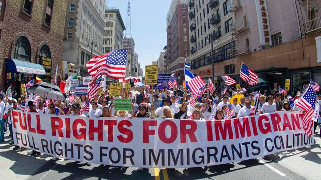 Demonstrators seeking change in immigration policy march on May Day in Los Angeles, May 01, 2013.