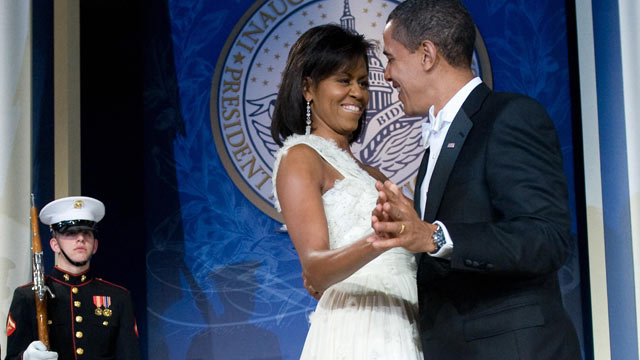 PHOTO: US President Barack Obama and First Lady Michelle Obama dance during the Youth Inaugural Ball at the Hilton Washington in Washington, DC, January 20, 2009.