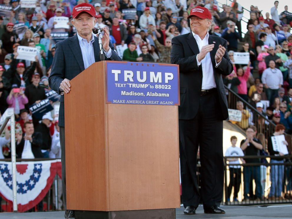 PHOTO: Senator Jeff Sessions endorses Donald Trump on February 28, 2016 in Madison, Alabama.