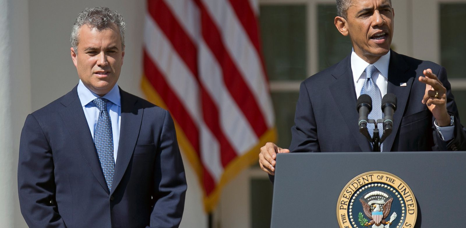 PHOTO: Acting budget director Jeff Zients looks on as President Barack Obama speaks about his proposed 2014 budget during a press conference in the Rose Garden of the White House in Washington, in this April 10, 2013 photo.