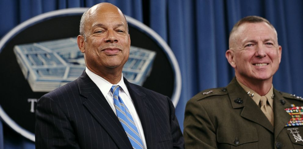 PHOTO: Department of Defense General Counsel Jeh Johnson, left, and Maj. Gen. Steven Hummer, Chief of Staff, Repeal Implementation Team, smile during a press conference at the Pentagon in Washington, in this July 22, 2011 photo.