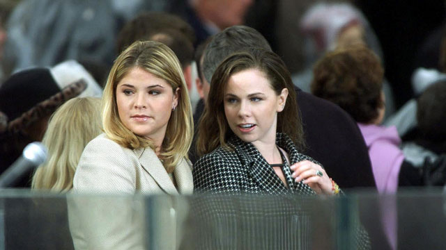 PHOTO: Jenna and Barbara Bush, the daughters of US President-elect George Bush and incoming First Lady Laura Bush stand on the podium as they await their father's inauguration Jan. 20, 2001 at the US Capitol in Washington, DC.