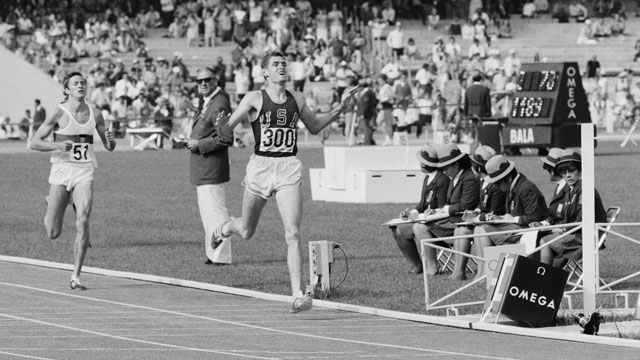PHOTO: Jim Ryun of the United States crosses the line to take silver ahead of Bodo Tummler of West Germany in the Men's 1,500 metres event of the XIX Summer Olympic Games on 20th October 1968 at the Olympic Stadium in Mexico City, Mexico.