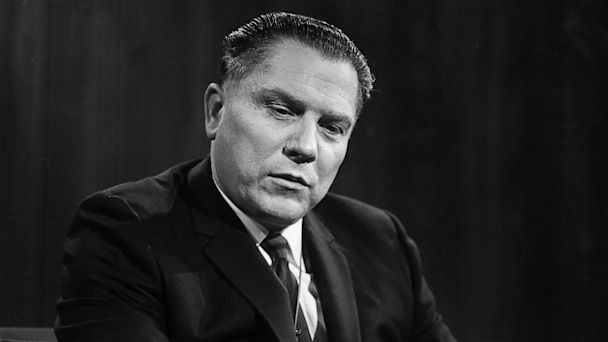 PHOTO: 10th November 1963:  James R. Hoffa discusses expansion of the union at an interview on WNBC TVs, Open Mind on Nov. 10, 1963.