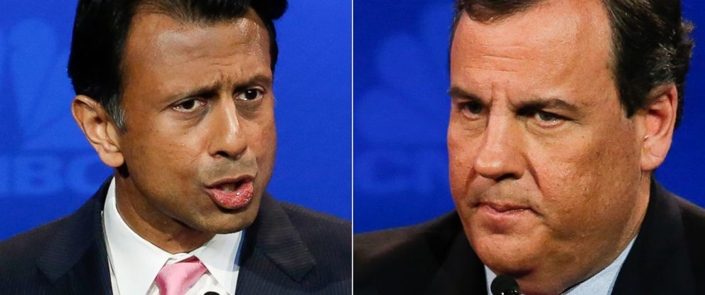 PHOTO: Bobby Jindal and Chris Christie during the CNBC debates on Oct. 28, 2015.
