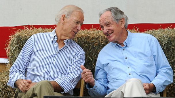 PHOTO: Vice President Joe Biden, left, speaks to Iowa Sen. Tom Harkin at Harkins annual fundraising steak fry dinner, Sept. 15, 2013, in Indianola, Iowa.