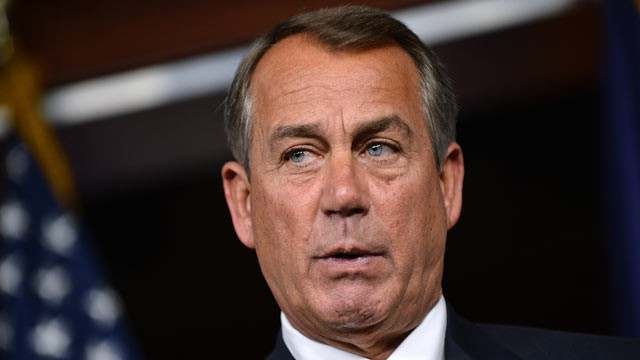 PHOTO: House Speaker John Boehner, R-Ohio, speaks during a press conference following President Barack Obama's visit to meet with the House Republican Conference in Washington, D.C., on March 13, 2013.