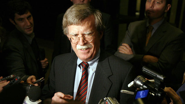 PHOTO: John Bolton, U.S. ambassador to the United Nations, speaks to the media after a meeting with the five permanent members of the Security Council and Germany concerning Iran at the French Mission to the UN November 13, 2006 in New York City.