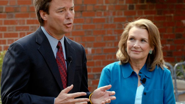 PHOTO: Elizabeth Edwards listens to her husband, Democratic presidential hopeful John Edwards speak at a news conference concerning the return of her cancer, Chapel Hill, N.C., March 22, 2007.