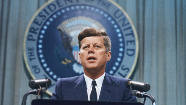 PHOTO: US President John F. Kennedy addresses a press conference, circa 1963.