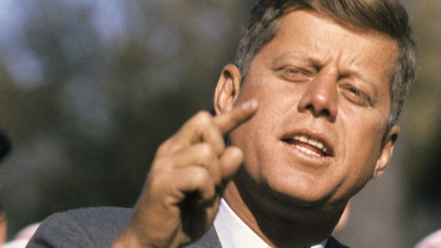 Senator John F. Kennedy of Mass., delivers a campaign speech, Oct. 25, 1960 in St. Charles, Illinois., From ImagesAttr