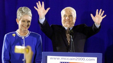 PHOTO: Republican presidential candidate Senator John McCain, and wife Cindy, during the Senator's Arizona primary victory over front-runner George W. Bush in Nashua, New Hampshire, Feb. 1, 2000.
